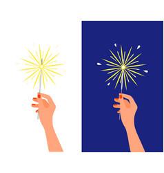 bengal light fire sparkler in female hand vector image