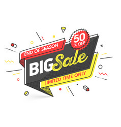 Big sale banner template in flat trendy memphis vector