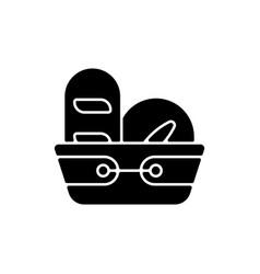 bread basket black glyph icon vector image