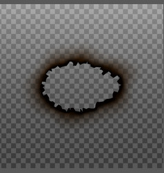 Burnt hole circle edge or frame realistic vector