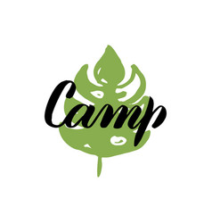 Camp leaf calligraphy vector