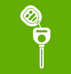 car key with remote control icon green vector image