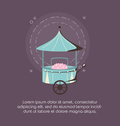 Carnival circus food cotton booth retro vector