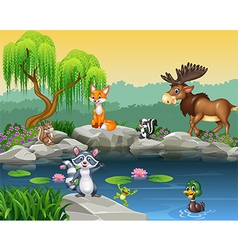 Cartoon funny animal collection on the beautiful n vector image