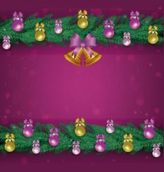 christmas banner with fir garlands xmas balls vector image