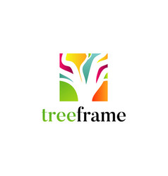 colorful tree square logo design vector image