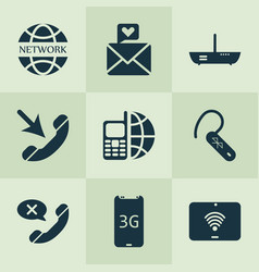 communication icons set with network vector image