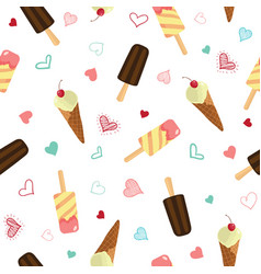 cute ice cream and hearts seamless pattern vector image