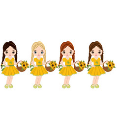 Cute little girls with baskets flowers vector
