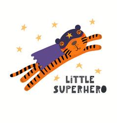 Cute tiger superhero vector