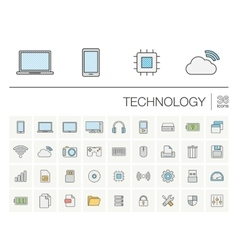 Digital technology color icons vector image