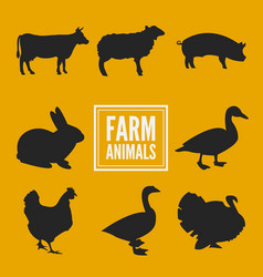 farm animals silhouettes collection isolated on vector image