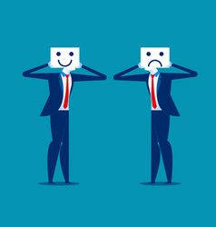 feeling businessman holding smile and sad mask vector image