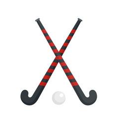 Field hockey crossed sticks icon flat style vector