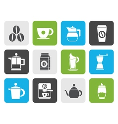 Flat coffee industry signs and icons vector image