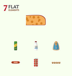 Flat icon eating set of canned chicken kielbasa vector