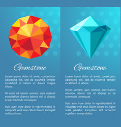 gemstones set with text sample vector image