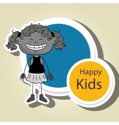 Girl kids happy icon vector