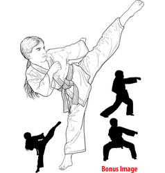 Girl practicing karate vector