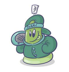 Graffiti spray cartoon character with boombox vector