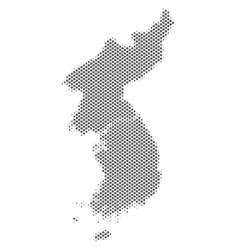 Halftone grey north and south korea map vector