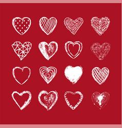 Hand drawn heart background valentines day vector