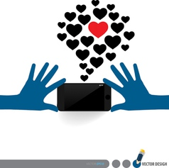 Hands holding touchscreen device with cloud of vector
