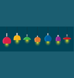 hanging lamps set flat vector image