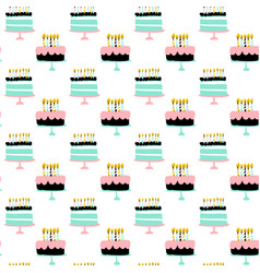 happy birthday cake seamless pattern vector image