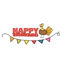 Happy Thanksgiving Day banner sign with a turkey vector