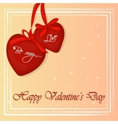 Happy Valentine s Day card with two hearts vector image