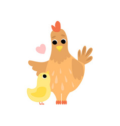 hen mother and its hicken cute farm birds family vector image