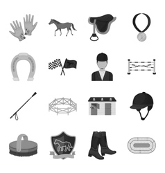Hippodrome and horse set icons in monochrome style vector