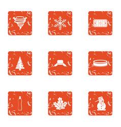 Hurricane mood icons set grunge style vector