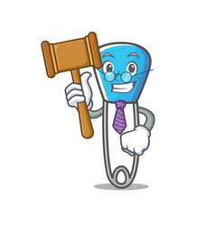 Judge safety pin mascot cartoon vector