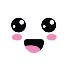 Kawaii cute happy face with mouth and cheeks vector