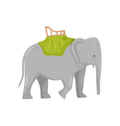 large gray elephant with chair on back activity vector image