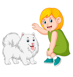 Little girl and kind dog vector