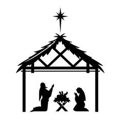 mary and joseph pray over newly born jesus vector image