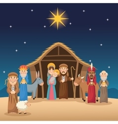 Mary joseph jesus wise men and shepherd design vector image