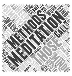 Meditation Methods Word Cloud Concept vector image
