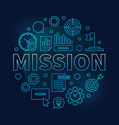 Mission round blue business outline vector