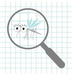 Mosquito magnifer research Optic glass Paper sheet vector