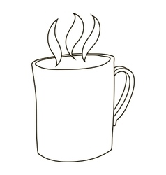 Mug with hot tea icon outline style vector image