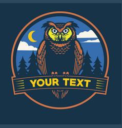 Nocturnal owl badge design vector