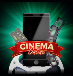 online cinema banner with mobile phone 3d vector image