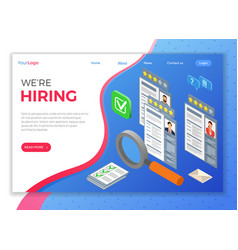 online isometric employment and hiring concept vector image