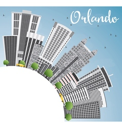 Orlando Skyline with Gray Buildings Blue Sky vector