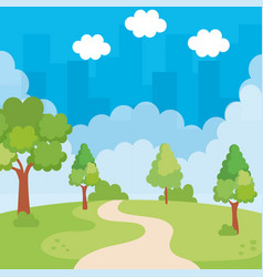 Park landscape with way scene icon vector