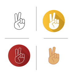 Peace hand gesture icon vector